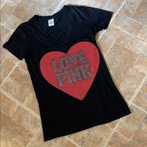 Victoria's Secret Pink BLING v-neck t-shirt MD